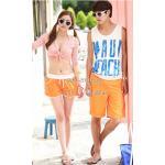กางเกงเที่ยวทะเล กางเกงขาสั้น กางเกงคู่ สีส้ม