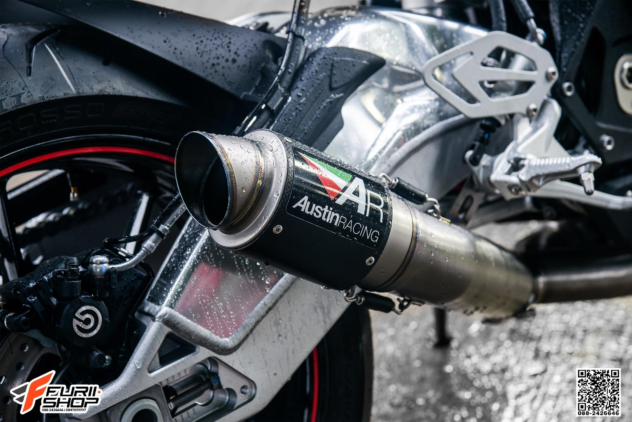 ท่อ AUSTIN RACING GP2R CARBON DE-CAT SYSTEM + Y PIPE FOR BMW S1000RR 2017
