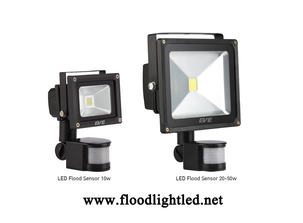 LED Flood Light Sensor 50w EVE แสงวอร์มไวท์ (แสงสีส้ม)