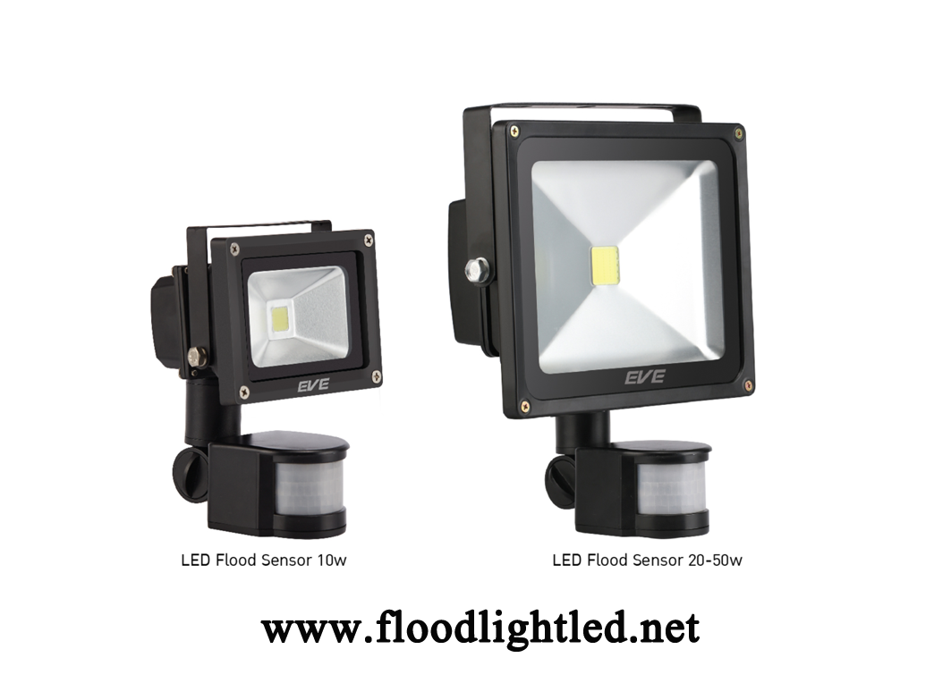 LED Flood Light Sensor 10w EVE แสงเดย์ไลท์ (แสงสีขาว)
