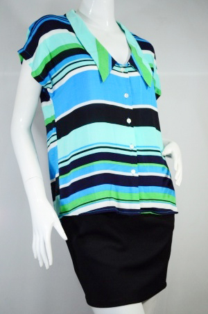 XACT เสื้อแฟชั่น เชิ๊ตแขนเต่อ ลายทางขวาง โทนสีเขียว-ฟ้า ผ้านุ่มเนื้อดีบางเบาสวมสบาย