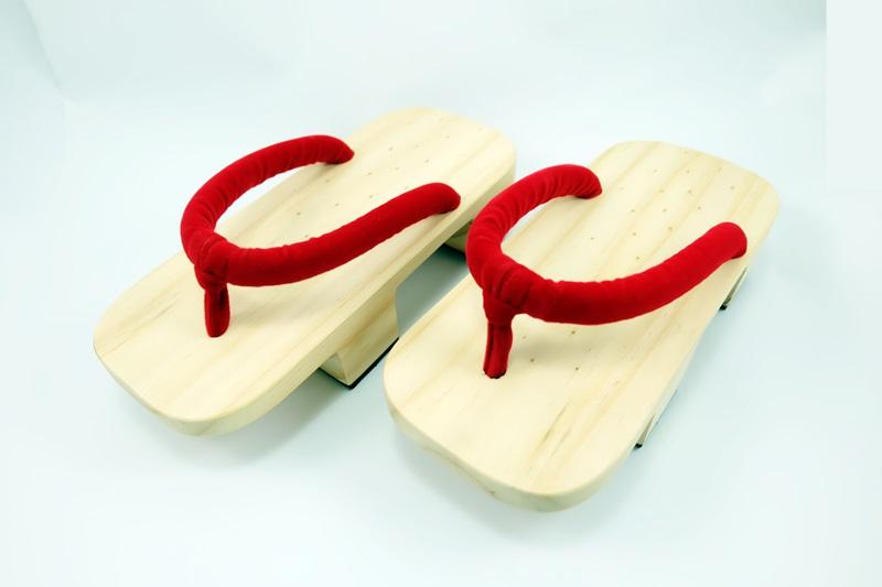 Geta-09 รองเท้าเกี๊ยะไม้ธรรมชาติ เชือกสีแดง