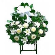 พวงหรีดดอกไม้สดขาวล้วน
