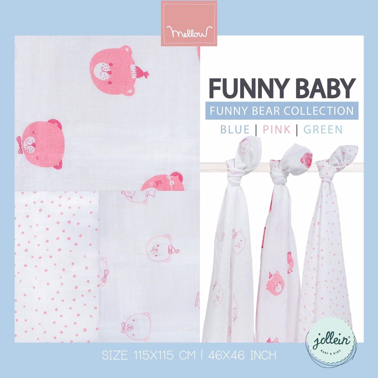 Jollein - Multi cloth Funny bear pink ผ้าห่อตัวลายหมีชมพู เซต 3 ผืน size 115x115 cm.