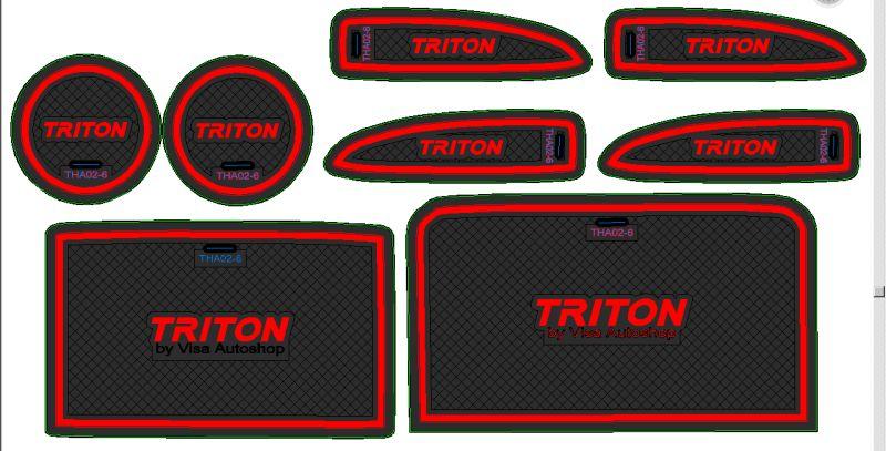 Slot Mat แผ่นยางรองในช่องรถยนต์ Triton 2015
