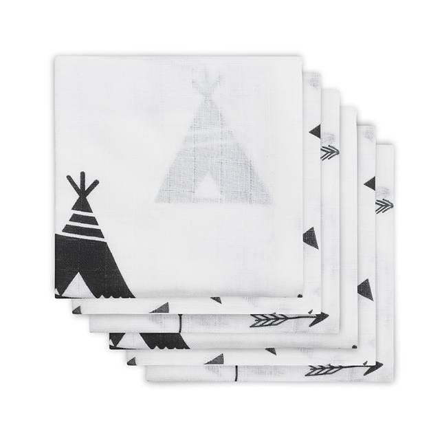 Jollein - Diaper Indians black & white ผ้าอ้อมลายอินเดียนแบล็คแอนด์ไวท์ เซต 6 ผืน size 70x70 cm.