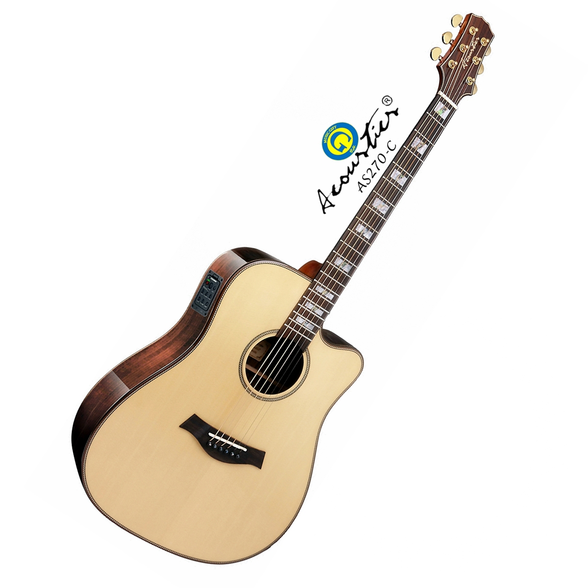 กีตาร์ โปร่ง ไฟฟ้า ยี่ห้อ Acoustics รุ่น AS270-C Top Solid Sitka Select Spruce ไม้หน้าแท้คัดพิเศษ