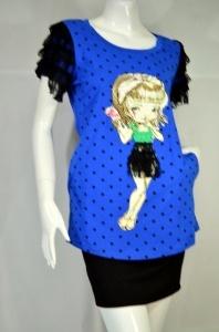 HARUKA เสื้อยืดสีน้ำเงินลายการ์ตูน