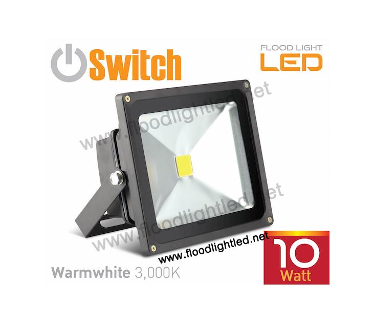 LED Flood Light 10w SWITCH แสงวอร์มไวท์ (แสงสีส้ม)