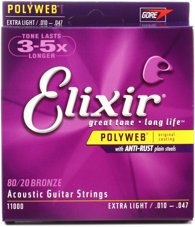 สายกีตาร์โปร่ง Elixir 80/20 Bronze Polyweb Anti-Rust, Extra light, 10-47