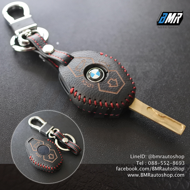 ซองหนังกุญแจ บีเอ็มดับเบิ้ลยู สีเทาเข้ม ด้ายแดง E46 E39 E60 E85