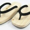 New Geta-01 รองเท้าเกี๊ยะทรงเตี๊ย ไม้ธรรมชาติ เชือกสีดำ