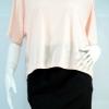 KOKO CLUB เสื้อผ้ายืดสีชมพูโอโรสปักเลื่อมที่คอลายปลาวาฬ