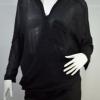 เสื้อแขน3ส่วน ผ้าชีฟองสีดำ ผ่าเฉียงหน้าทรงกว้าง