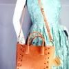 JASPAL กระเป๋าสะพายหนัง PU TOTE +CRYSTAL/PIECED Togethe สีส้มพีท