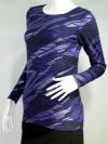 BOSSINI Style เสื้อยืดแขนยาวสีม่วง blueberry ลายริ้วสีดำ/บรอนซ์เงิน ทรงเข้ารูป