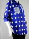 BLUE CORNER เสื้อเชิ้ตแขน 4 ส่วน สีน้ำเงินลายปุยเมฆ ผ้าค๊อตต้อน
