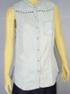 XXI เสื้อผ้ายีนส์ denim แขนกุด ฟอกสีขาว
