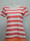 BSN เสื้อยืดลายทางสีชมพูขาว