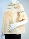 NEVERLAND เสื้อสีเนื้อคอปิดเอวลอยนิดๆ ปักลาย+ผ้าลูกไม้+อัดจีบ ผ้าชีฟอง