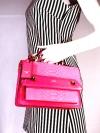 JASPAL กระเป๋าสะพายหนัง PU TOP HANDLE/CRYSTAL SNAKE สี PINK