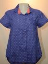 BLUE CORNER เสื้อเชิ๊ตแขนสั้น สีน้ำเงินลายจุดสีส้ม