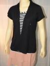 BOSSINI LADIES เสื้อยืดสีดำลายขวาง พร้อมเสื้อคลุมสีดำในตัว (เย็บติดกัน) size S