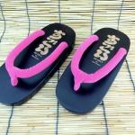 SUGOI-09 รองเท้าเกี๊ยะไม้ดำเชือกชมพูบานเย็น
