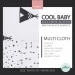 Jollein - Multi cloth Indians black & white ผ้าห่อตัวลายอินเดียนแบล็คแอนด์ไวท์ เซต 3 ผืน size 115x115 cm.
