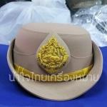หมวกหม้อตาลหญิงสีกากี หน้าสิงห์