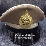 หมวกหม้อตาลชายสีกากี หน้าสิงห์โลหะ (พร้อมซองหมวก)