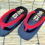 SUGOI-07 รองเท้าเกี๊ยะไม้ดำเชือกแดง