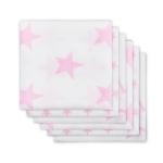 Jollein - Diaper Little star pink ผ้าอ้อมลายดาวชมพู เซต 6 ผืน size 70x70 cm.