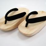 Fit Geta-01 รองเท้าเกี๊ยะไม้ธรรมชาติ เชือกดำ