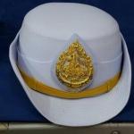 หมวกหม้อตาลหญิงสีขาว หน้าสิงห์ (พร้อมซองหมวก)
