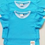 2 ตัว 100 บาท Cotton 100% เสื้อยืดเด็กลายขวาง ลายฟ้าขาว สดใส น่ารัก (คละแบบคละไซส์ได้)