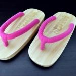 SUGOI-04 รองเท้าเกี๊ยะไม้ธรรมชาติเชือกชมพูบานเย็น