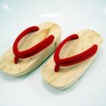 Fit Geta-02 รองเท้าเกี๊ยะไม้ธรรมชาติ เชือกแดง