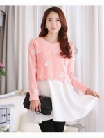 ชุดเสื้อคลุมท้องแฟชั่นสไตล์เกาหลี ใส่คู่กัน 2 ตัว สีชมพูตัวเสื้อตกแต่งด้วยดอกไม้