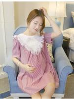 เสื้อคลุมท้อง คอเสื้อตกแต่งด้วยผ้าลูกไม้