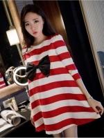 เสื้อคลุมท้องสไตล์เกาหลี ผ้ายืดลายขาว-แดงใส่สบายมากค่ะ