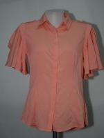 NINEPLUS เสื้อเชิ๊ตสีส้มอิฐแขนระบาย