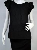 @DRESS เสื้อสีดำแขนพุ่ม กุ๊นคอขาว