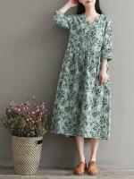ชุดคลุมท้อง แฟชั่น สีเขียวลายดอกไม้