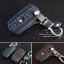 เคสกุญแจหนัง บีเอ็มดับเบิ้ลยู E series สีเทาเข้ม เย็บด้วยด้ายแดง / น้ำเงิน thumbnail 1