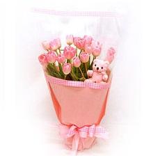 ช่อทิวลิปชมพูวาเลนไทน์แสนหวานช่อเล็ก 10 ดอกพร้อมหมีน้อยน่ารัก