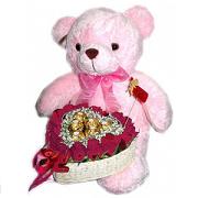 ตะกร้ากุหลาบแดงตุ๊กตาหมี