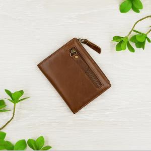 กระเป๋าสตางค์หนังแท้ ทรงตั้ง มีซิป สีน้ำตาลอ่อน ดีไซน์เท่ห์ ขนาดเล็ก พกพาง่าย มีช่องเก็บเหรียญ