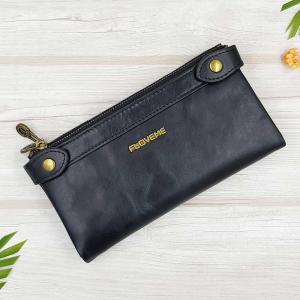 กระเป๋าสตางค์หนังแท้ ทรงยาว ช่องซิปยาว 2 ช่อง สีดำ