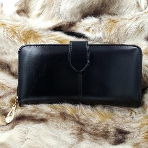 กระเป๋าสตางค์หนังแท้ สตรี ทรงยาว หนังนุ่ม สีดำ มีซิป